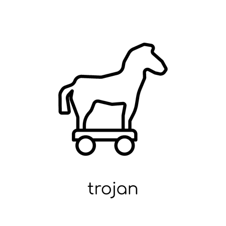 Trojan icon. Trendy modern flat linear vector Trojan icon on white background from thin line Internet Security and Networking collection, editable outline stroke vector illustration