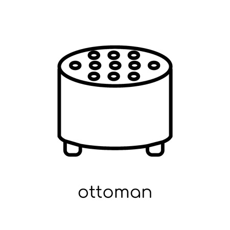 ottoman icon. Trendy modern flat linear vector ottoman icon on white background from thin line Furniture and household collection, outline vector illustration