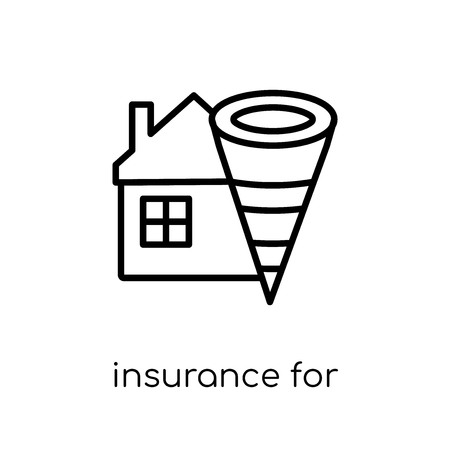 insurance for home of tornado icon. Trendy modern flat linear vector insurance for home of tornado icon on white background from thin line Insurance collection, outline vector illustration