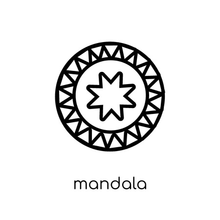 Mandala icon. Trendy modern flat linear vector Mandala icon on white background from thin line india collection, editable outline stroke vector illustration