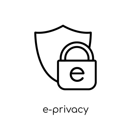e-privacy icon. Trendy modern flat linear vector e-privacy icon on white background from thin line general collection, editable outline stroke vector illustration