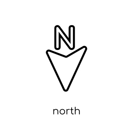North icon. Trendy modern flat linear vector North icon on white background from thin line Maps and Locations collection, editable outline stroke vector illustration