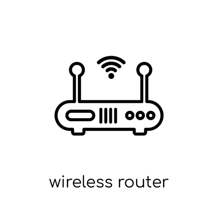 wireless router icon. Trendy modern flat linear vector wireless router icon on white background from thin line Internet Security and Networking collection, outline vector illustration Banque d'images - 112095857