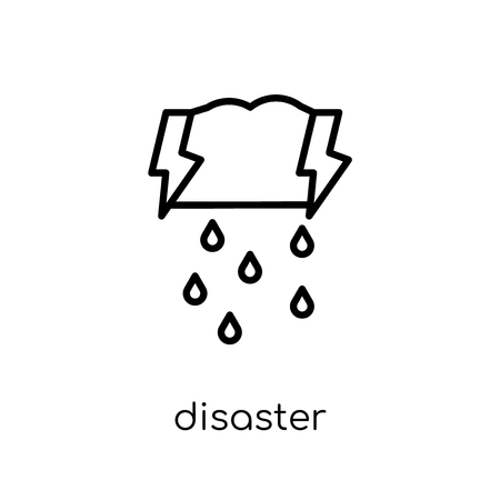 Disaster icon. Trendy modern flat linear vector Disaster icon on white background from thin line Insurance collection, editable outline stroke vector illustration