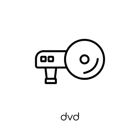 DVD icon. Trendy modern flat linear vector DVD icon on white background from thin line hardware collection, editable outline stroke vector illustration Illustration