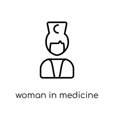 Woman In Medicine icon. Trendy modern flat linear vector Woman In Medicine icon on white background from thin line Ladies collection, editable outline stroke vector illustration Illustration
