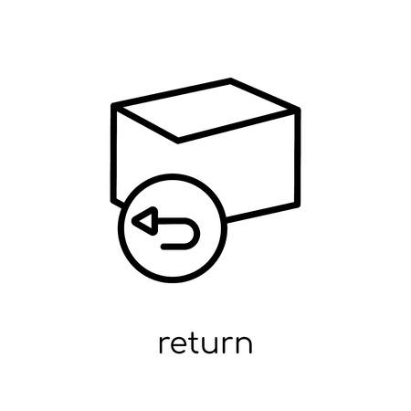 icona di ritorno. Icona moderna tendenza di ritorno piatto lineare di vettore su priorità bassa bianca dalla raccolta di linea sottile, illustrazione di vettore del profilo