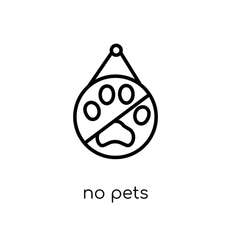 no pets icon. Trendy modern flat linear vector no pets icon on white background from thin line Hotel collection, outline vector illustration