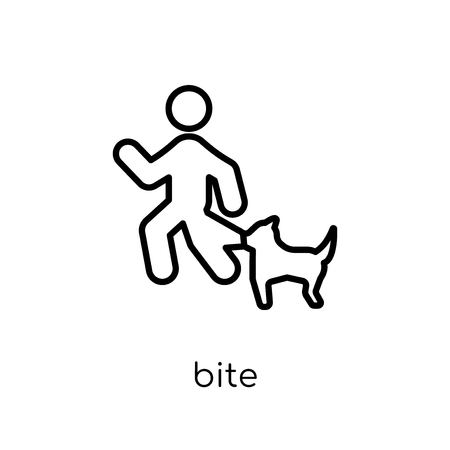 Bite icon. Trendy modern flat linear vector Bite icon on white background from thin line Insurance collection, editable outline stroke vector illustration Illustration
