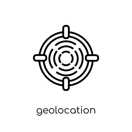 Geolocation icon. Trendy modern flat linear vector Geolocation icon on white background from thin line Maps and Locations collection, editable outline stroke vector illustration Illustration