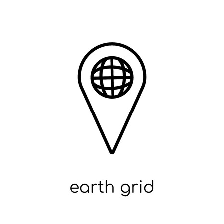 Earth grid icon. Trendy modern flat linear vector Earth grid icon on white background from thin line Maps and Locations collection, editable outline stroke vector illustration