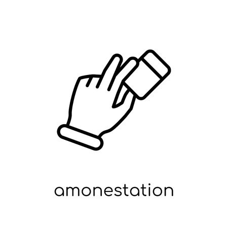 Amonestation gesture icon. Trendy modern flat linear vector Amonestation gesture icon on white background from thin line Hands and guestures collection, editable outline stroke vector illustration