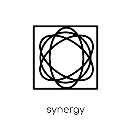 synergy icon. Trendy modern flat linear vector synergy icon on white background from thin line Geometry collection, outline vector illustration