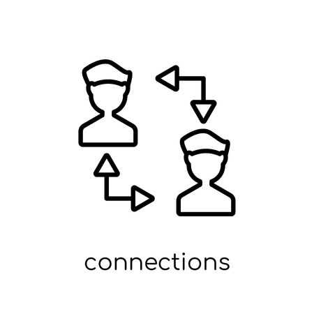 connections icon. Trendy modern flat linear vector connections icon on white background from thin line collection, outline vector illustration 向量圖像