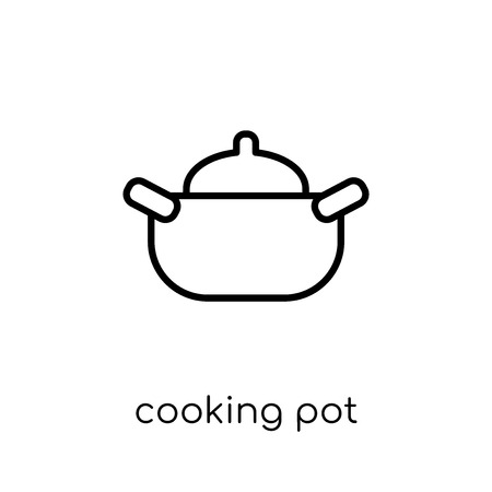 cooking pot icon. Trendy modern flat linear vector cooking pot icon on white background from thin line Kitchen collection, outline vector illustration Stock Vector - 111334693