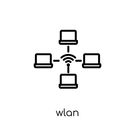 wlan icon. Trendy modern flat linear vector wlan icon on white background from thin line Internet Security and Networking collection, editable outline stroke vector illustration Çizim