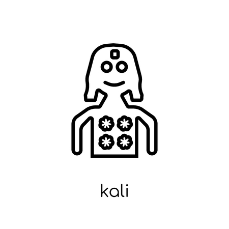 Kali icon. Trendy modern flat linear vector Kali icon on white background from thin line india collection, editable outline stroke vector illustration