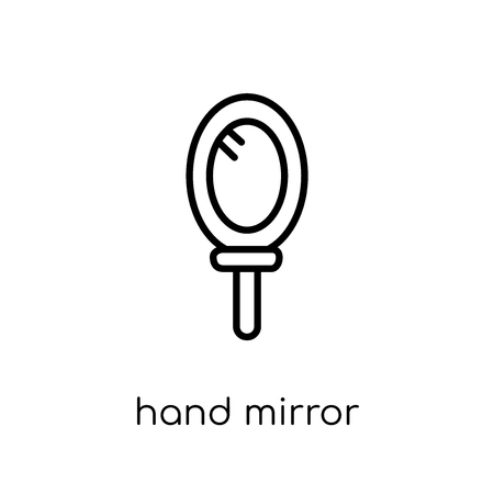 hand mirror icon. Trendy modern flat linear vector hand mirror icon on white background from thin line collection, outline vector illustration Illustration