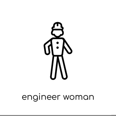 Engineer Woman icon. Trendy modern flat linear vector Engineer Woman icon on white background from thin line Ladies collection, editable outline stroke vector illustration