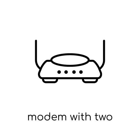 Modem mit Symbol für zwei Antennen. Trendiges modernes flaches lineares Vektormodem mit zwei Antennensymbol auf weißem Hintergrund aus dünner Hardwaresammlung, bearbeitbare Konturstrichvektorillustration