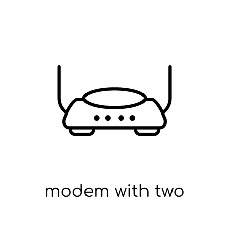 Modem with Two Antenna icon. Trendy modern flat linear vector Modem with Two Antenna icon on white background from thin line hardware collection, editable outline stroke vector illustration