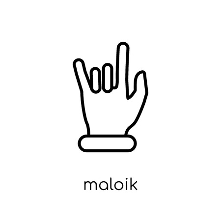 Maloik icon. Trendy modern flat linear vector Maloik icon on white background from thin line Hands and guestures collection, editable outline stroke vector illustration Foto de archivo - 111906664