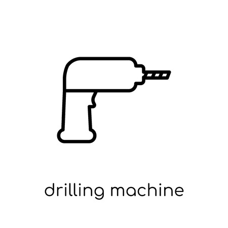 drilling machine icon. Trendy modern flat linear vector drilling machine icon on white background from thin line collection, outline vector illustration Ilustração