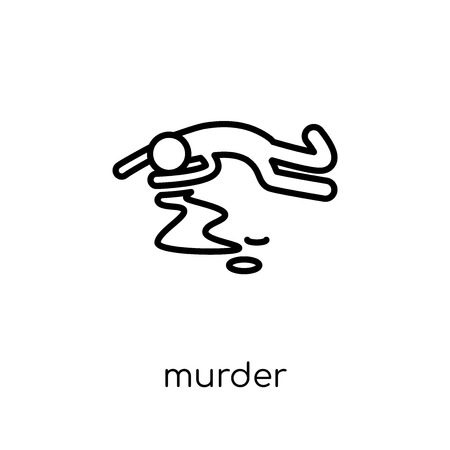icono de asesinato. Moda moderno icono de asesinato vector plano lineal sobre fondo blanco de colección de ley y justicia de línea fina, Ilustración de vector de movimiento editables contorno Ilustración de vector