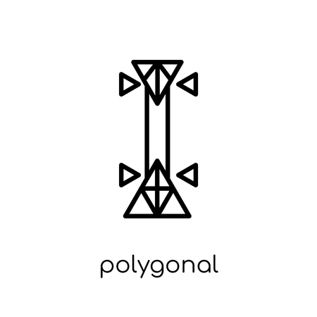 polygonal triangles guitar icon. Trendy modern flat linear vector polygonal triangles guitar icon on white background from thin line Geometry collection, outline vector illustration