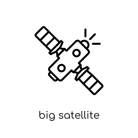 Big Satellite icon. Trendy modern flat linear vector Big Satellite icon on white background from thin line hardware collection, editable outline stroke vector illustration