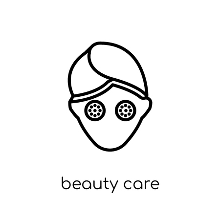 beauty care icon. Trendy modern flat linear vector beauty care icon on white background from thin line general collection, editable outline stroke vector illustration
