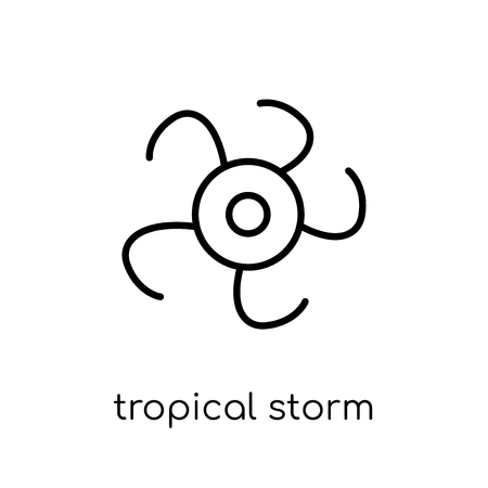 tropical storm icon. Trendy modern flat linear vector tropical storm icon on white background from thin line Weather collection, outline vector illustration