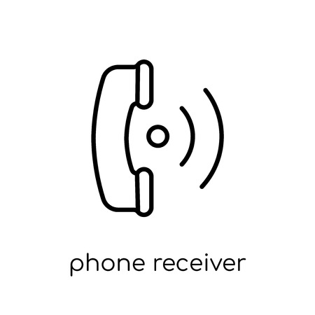 Phone Receiver with Signal icon. Trendy modern flat linear vector Phone Receiver with Signal icon on white background from thin line hardware collection, editable outline stroke vector illustration Banque d'images - 111906676