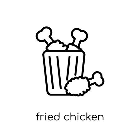fried chicken icon. Trendy modern flat linear vector fried chicken icon on white background from thin line Restaurant collection, outline vector illustration