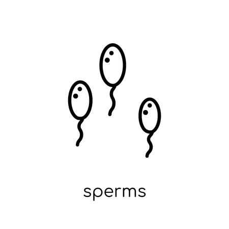 Sperms icon. Trendy modern flat linear vector Sperms icon on white background from thin line Human Body Parts collection, editable outline stroke vector illustration