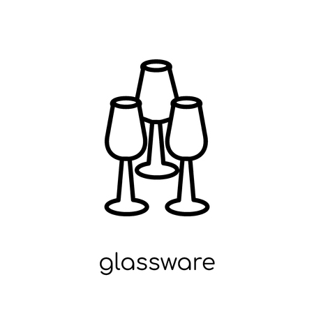 glassware icon. Trendy modern flat linear vector glassware icon on white background from thin line Furniture and household collection, outline vector illustration Illustration