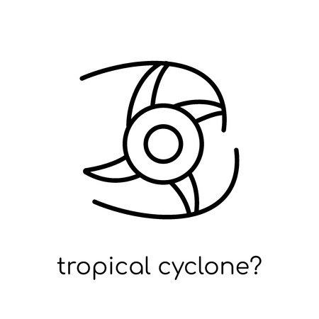 tropical cyclone? icon. Trendy modern flat linear vector tropical cyclone? icon on white background from thin line Tropical cyclone? collection, outline vector illustration