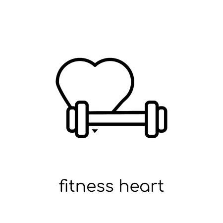 fitness Heart icon. Trendy modern flat linear vector fitness Heart icon on white background from thin line Gym and fitness collection, editable outline stroke vector illustration Illustration