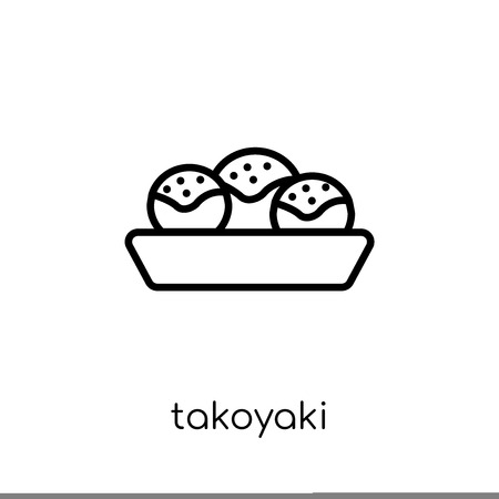 takoyaki icon. Trendy modern flat linear vector takoyaki icon on white background from thin line Restaurant collection, outline vector illustration