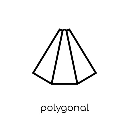 polygonal pyramid of triangles icon. Trendy modern flat linear vector polygonal pyramid of triangles icon on white background from thin line Geometry collection, outline vector illustration