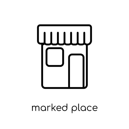 Marked Place icon. Trendy modern flat linear vector Marked Place icon on white background from thin line Maps and Locations collection, editable outline stroke vector illustration Illustration