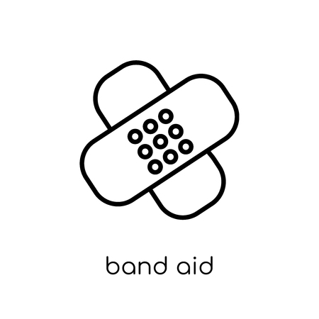 Icône moderne dernier cri de Bandage plat linéaire vectoriel sur fond blanc de la mince ligne collection santé et paramédical, illustration de vecteur editable contour AVC