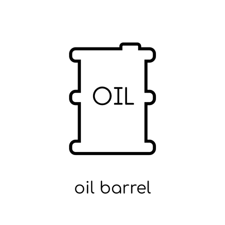oil barrel icon. Trendy modern flat linear vector oil barrel icon on white background from thin line Industry collection, outline vector illustration