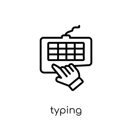 typing icon. Trendy modern flat linear vector typing icon on white background from thin line collection, outline vector illustration Illustration