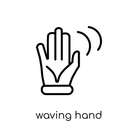 Icona della mano d'ondeggiamento. Icona moderna tendenza della mano d'ondeggiamento piatto lineare di vettore su priorità bassa bianca sottile linea collezione di mani e ospiti, illustrazione di vettore di corsa di profilo modificabile Vettoriali