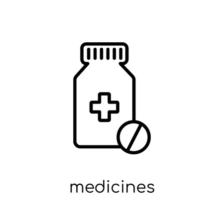 Medicines icon. Trendy modern flat linear vector Medicines icon on white background from thin line Health and Medical collection, editable outline stroke vector illustration