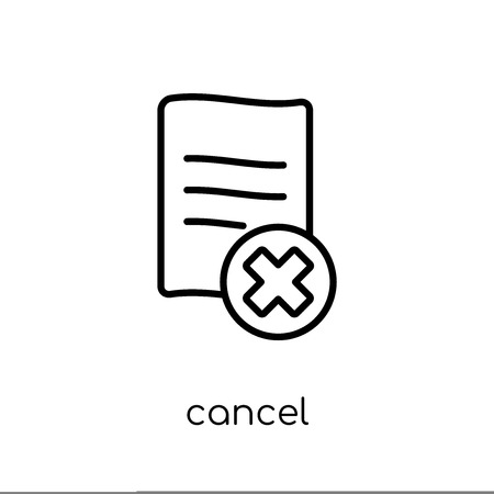 cancel icon. Trendy modern flat linear vector cancel icon on white background from thin line collection, outline vector illustration