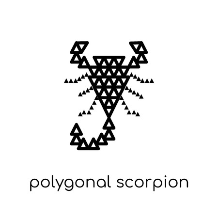 polygonal scorpion icon. Trendy modern flat linear vector polygonal scorpion icon on white background from thin line Geometry collection, outline vector illustration Illustration