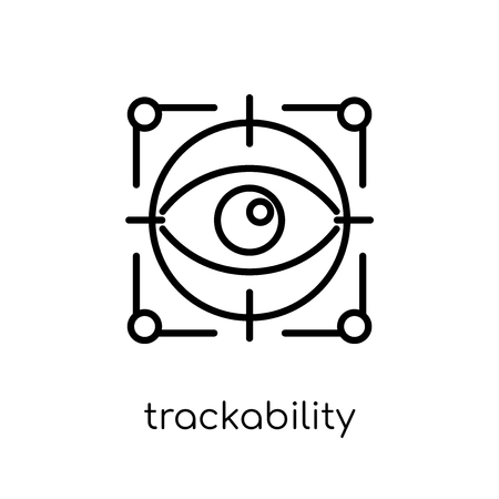 trackability icon. Trendy modern flat linear vector trackability icon on white background from thin line General collection, editable outline stroke vector illustration