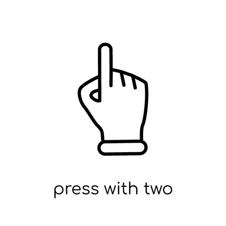 press with two fingers icon. Trendy modern flat linear vector press with two fingers icon on white background from thin line Hands and guestures collection, outline vector illustration  イラスト・ベクター素材